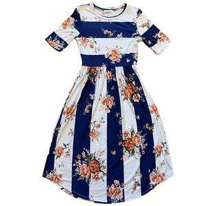Reborn J Floral Navy & White Striped Dress Size S